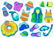 Grupo de cor com os bens da natação para crianças no fundo branco Ilustração do vetor Imagens de Stock Royalty Free