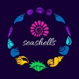 Grupo de cor de silhuetas de shell do mar no círculo Vetor Fotografia de Stock Royalty Free