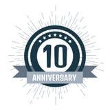 Grupo de cor do aniversário 10 Ilustração do vetor Fotografia de Stock Royalty Free