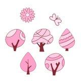 Grupo de cor do rosa da árvore da mola Ilustração Stock