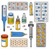 Grupo de cor do vetor de artigos médicos ilustração royalty free