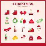 Grupo de cor dos ícones do Natal Fotos de Stock Royalty Free