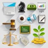 Grupo de cor liso dos ícones do negócio Imagem de Stock Royalty Free