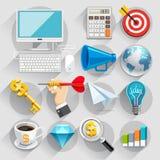 Grupo de cor liso dos ícones do negócio Imagens de Stock