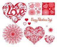 Grupo de coração do amor com teste padrão, mandalas e testes padrões sem emenda f Fotografia de Stock