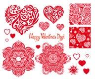 Grupo de coração do amor com teste padrão, mandalas e testes padrões sem emenda f Fotografia de Stock Royalty Free