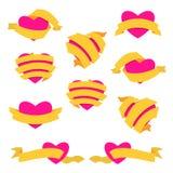 Grupo de coração e de fita amarelo ilustração stock