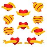 Grupo de coração e de fita amarelo ilustração do vetor
