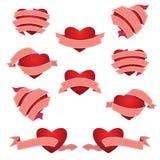 Grupo de coração e de fita Cor-de-rosa Imagens de Stock