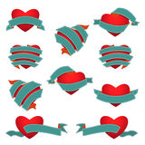 Grupo de coração e de fita Escuro - azul ilustração stock