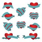 Grupo de coração e de fita Ilustração do vetor Fotos de Stock Royalty Free