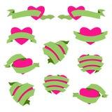 Grupo de coração e de fita Verde Foto de Stock Royalty Free