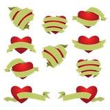 Grupo de coração e de fita Verde ilustração do vetor