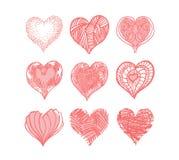 Grupo de corações Fotos de Stock Royalty Free