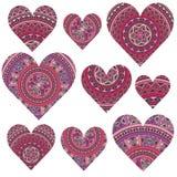 Grupo de corações Fotografia de Stock Royalty Free