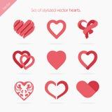 Grupo de corações abstratos dos ícones Fotografia de Stock