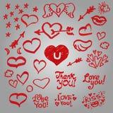 Grupo de corações bonitos, asas, estrelas Foto de Stock Royalty Free