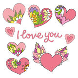 Grupo de 8 corações bonitos da garatuja ilustração stock