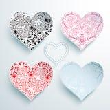 Grupo de corações a céu aberto com ornamento do laço Foto de Stock Royalty Free