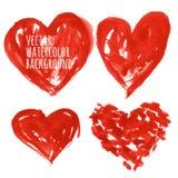 Grupo de corações coloridos da aquarela, ilustração do vetor Foto de Stock Royalty Free