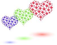 Grupo de corações coloridos feitos de cristais pequenos Fotografia de Stock