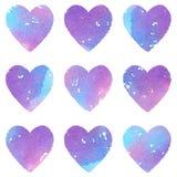 Grupo de corações decorativos pintados à mão da aquarela Grande como um papel de parede ou um teste padrão sem emenda Foto de Stock Royalty Free