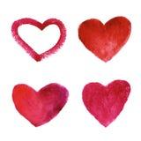 Grupo de corações do vermelho da aquarela Fotos de Stock