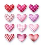 Grupo de corações do vetor 3d para o dia do ` s do Valentim Foto de Stock