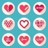 Grupo de corações do vetor Jogo dos Valentim ilustração do vetor