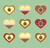 Grupo de corações do vintage com textura da tela Vetor Fotos de Stock Royalty Free