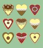 Grupo de corações do vintage com textura da tela Vetor Fotos de Stock