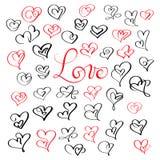 Grupo de corações do vintage da caligrafia do flourish com amor da palavra O casamento e Valentine Illustration vector EPS tirado Imagem de Stock