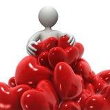 Grupo de corações e personage Fotos de Stock Royalty Free