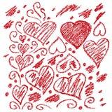 Grupo de corações engraçados do amor da pintura com elementos tirados mão Fotografia de Stock Royalty Free