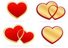 Grupo de corações estilizados Imagens de Stock