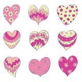 Grupo de corações isolados Fotografia de Stock Royalty Free