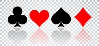 Grupo de corações, de pás, de clubes e de diamantes com reflexão no fundo transparente ilustração do vetor