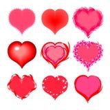 Grupo de corações para o dia do ` s do Valentim Elementos para cartões do projeto Imagens de Stock Royalty Free