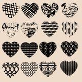 Grupo de corações pretos do grunge Projeto para o dia de Valentim Fotos de Stock Royalty Free