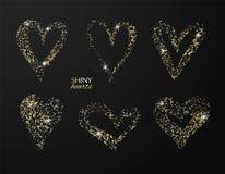 Grupo de corações tirados mão com brilho dourado Vector o elemento do projeto para convites, folhetos, bandeiras e outro ilustração do vetor