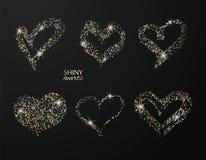 Grupo de corações tirados mão com brilho dourado Vector o elemento do projeto para convites, folhetos, bandeiras e outro ilustração stock
