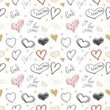 Grupo de corações tirados mão Dia feliz dos Valentim Eu te amo Fotos de Stock Royalty Free