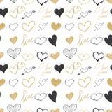 Grupo de corações tirados mão Dia feliz dos Valentim Eu te amo Foto de Stock Royalty Free