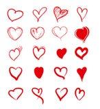 Grupo de corações vermelhos do grunge ilustração do vetor