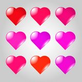 Grupo de corações vermelhos e lilás foto de stock royalty free