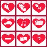 Grupo de coração dos ícones Imagem de Stock