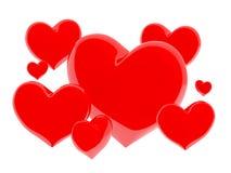 Grupo de corazones brillantes rojos en el fondo blanco (3D rinden) fotografía de archivo libre de regalías