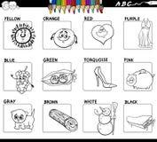 Grupo de cores básico educacional para colorir ilustração do vetor