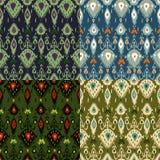 Grupo de cores do teste padrão quatro de Ikat ilustração do vetor