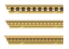 Grupo de cornijas clássicas do ouro Imagens de Stock